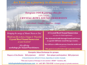 Experience amazing CRYSTAL BOWL SOUND IMMERSIONS